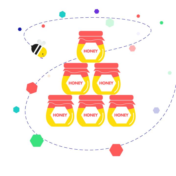 Barry the bee flying around honey pots
