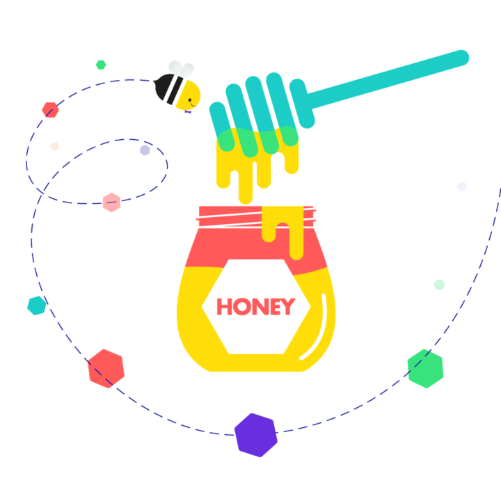 Bee flying around honey pot illustration